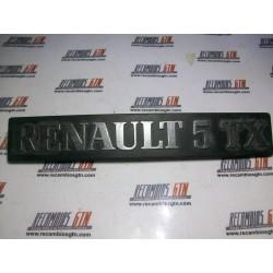 Renault 5. Anagrama trasero Renault 5 TX
